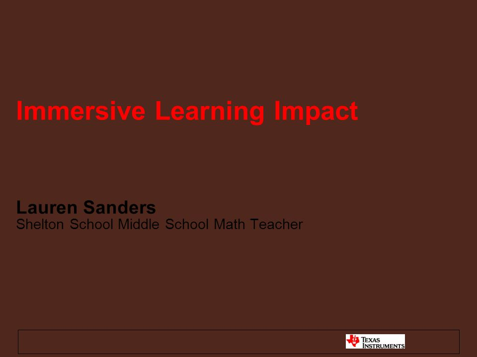 Lauren Sanders Shelton School Middle School Math Teacher Immersive Learning Impact