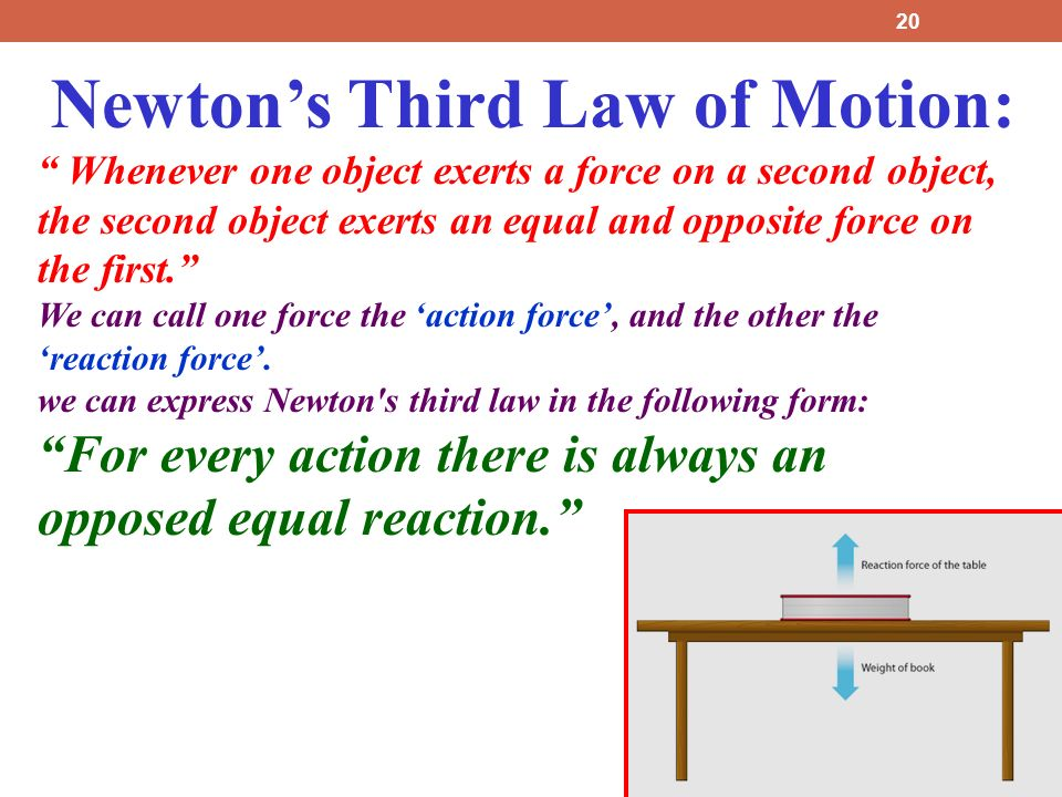 Newton's Third Law of Motion: Whenever one object exerts a force on a second object, the second object exerts an equal and opposite force on the first. We can call one force the 'action force', and the other the 'reaction force'.