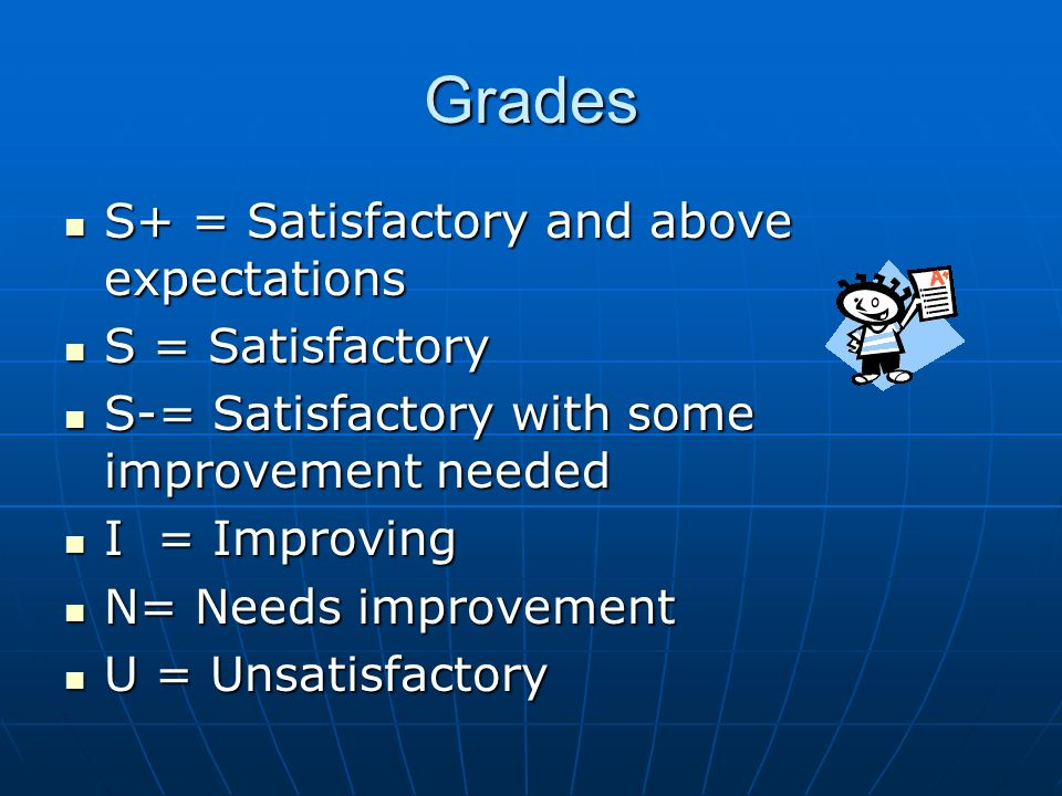 Grades S+ = Satisfactory and above expectations S+ = Satisfactory and above expectations S = Satisfactory S = Satisfactory S-= Satisfactory with some improvement needed S-= Satisfactory with some improvement needed I = Improving I = Improving N= Needs improvement N= Needs improvement U = Unsatisfactory U = Unsatisfactory