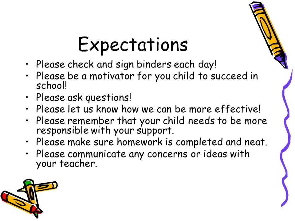 Expectations Please check and sign binders each day.