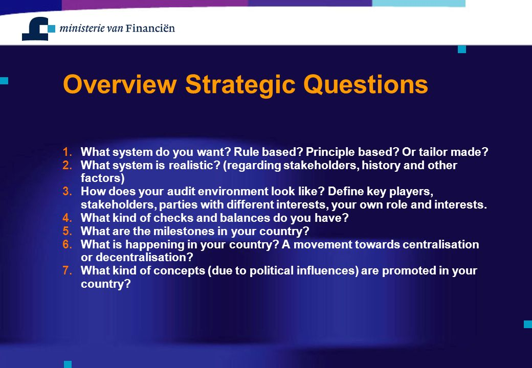 Overview Strategic Questions 1.What system do you want.