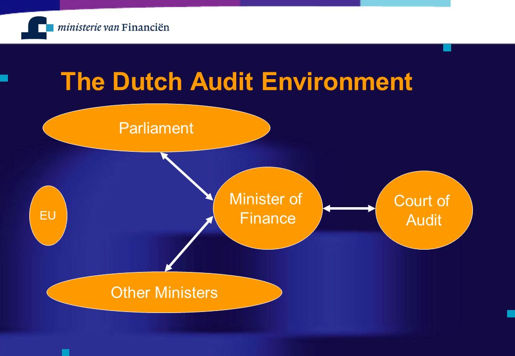 The Dutch Audit Environment Minister of Finance Parliament Other Ministers Court of Audit EU