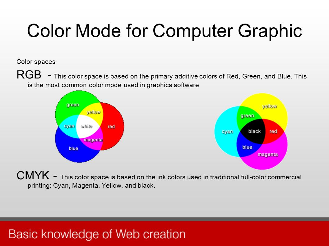 Color Mode for Computer Graphic Color spaces RGB - This color space is based on the primary additive colors of Red, Green, and Blue.