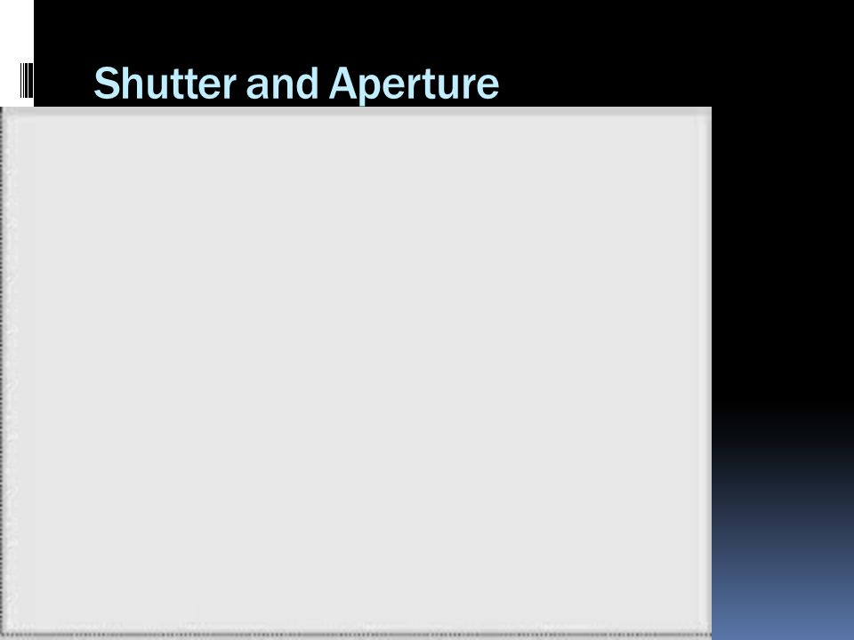 Shutter and Aperture