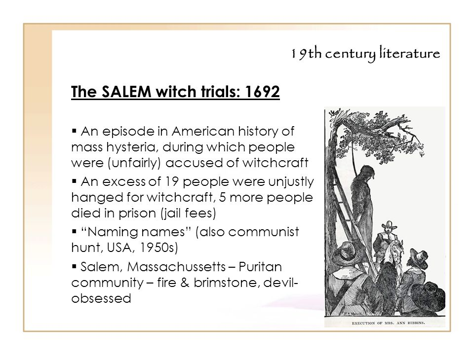 a history of the salem witch trials in 1692 The salem witch trials took place between february of 1692 and may of 1693 by the end of the trials, hundreds were accused of witchcraft, nineteen were executed and several more died in prison awaiting either trial or execution while these events are referred to as the salem witch trials, several counties in massachusetts were.