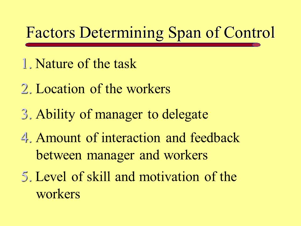Factors Determining Span of Control 1. 1. Nature of the task 2.