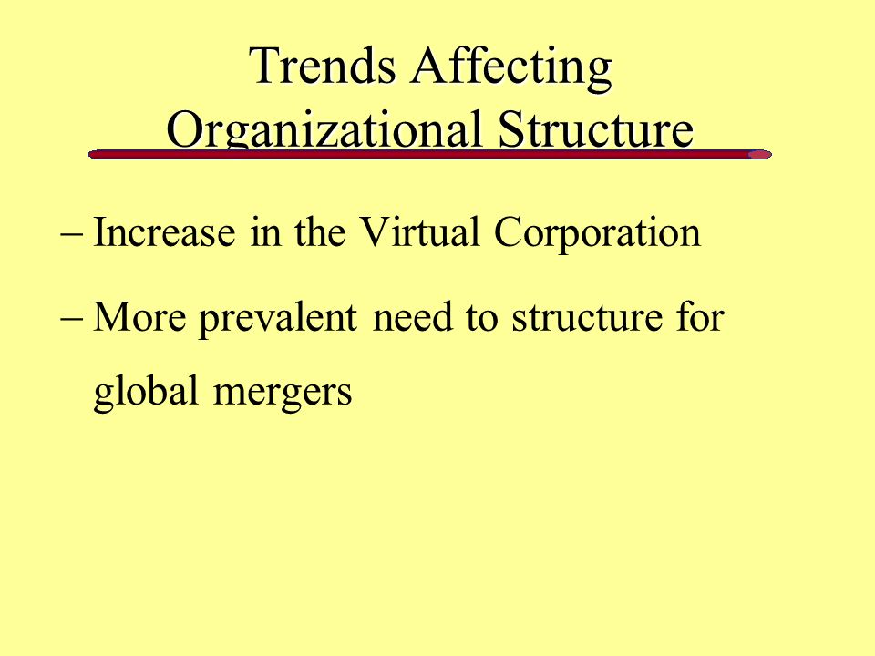 Trends Affecting Organizational Structure  Increase in the Virtual Corporation  More prevalent need to structure for global mergers