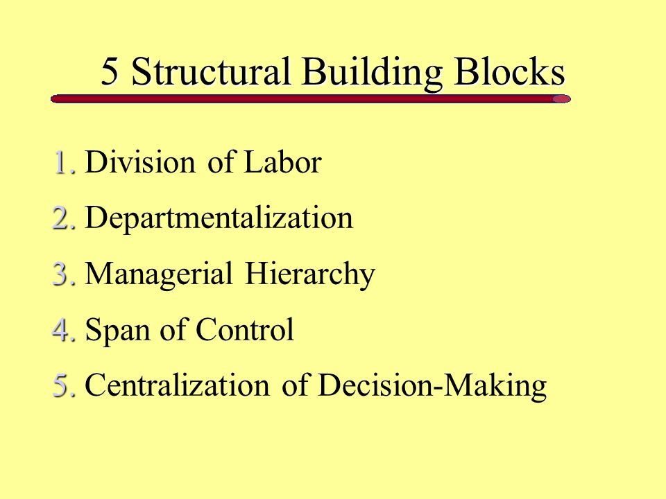 5 Structural Building Blocks 1. 1. Division of Labor 2.