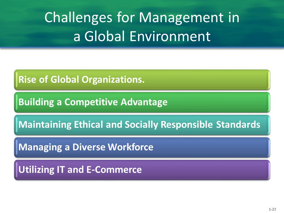 1-35 Challenges for Management in a Global Environment Rise of Global Organizations.Building a Competitive AdvantageMaintaining Ethical and Socially Responsible StandardsManaging a Diverse WorkforceUtilizing IT and E-Commerce