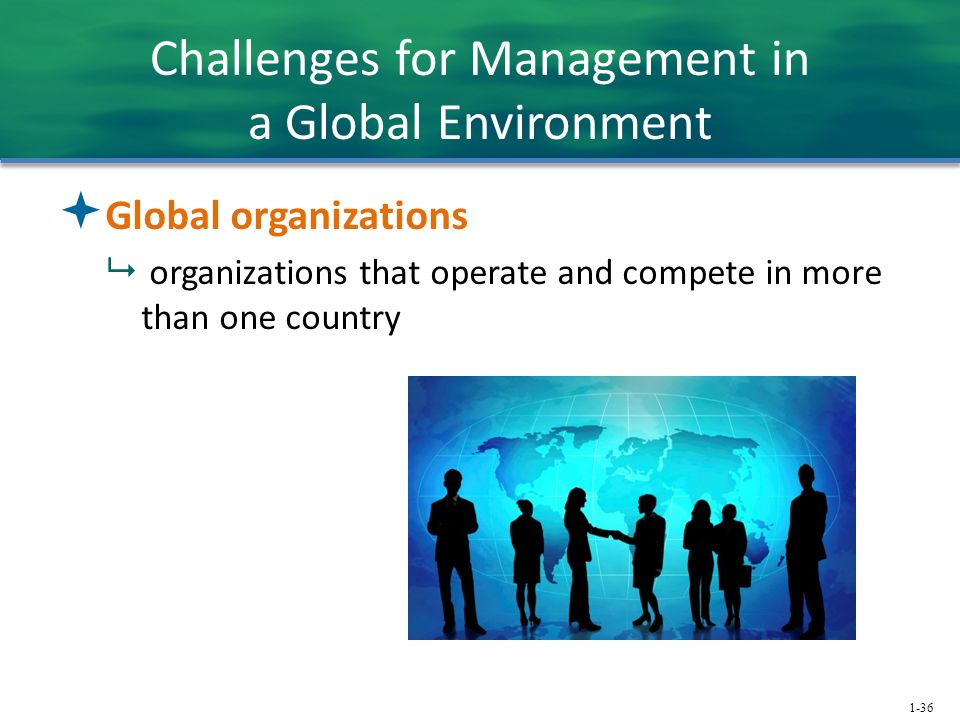 1-36 Challenges for Management in a Global Environment  Global organizations  organizations that operate and compete in more than one country