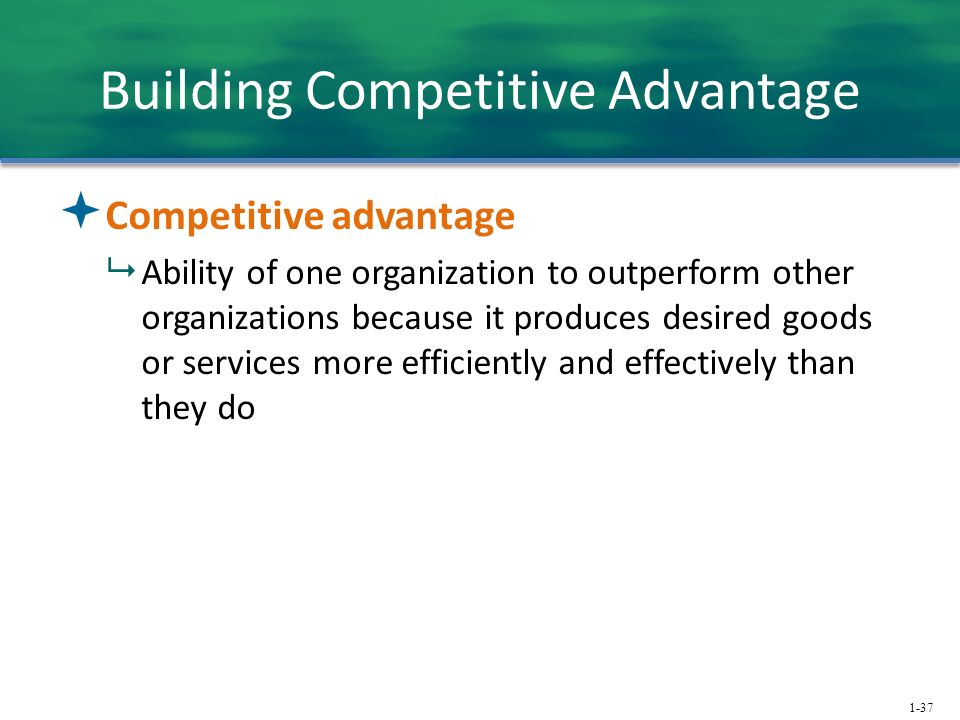 1-37 Building Competitive Advantage  Competitive advantage  Ability of one organization to outperform other organizations because it produces desired goods or services more efficiently and effectively than they do