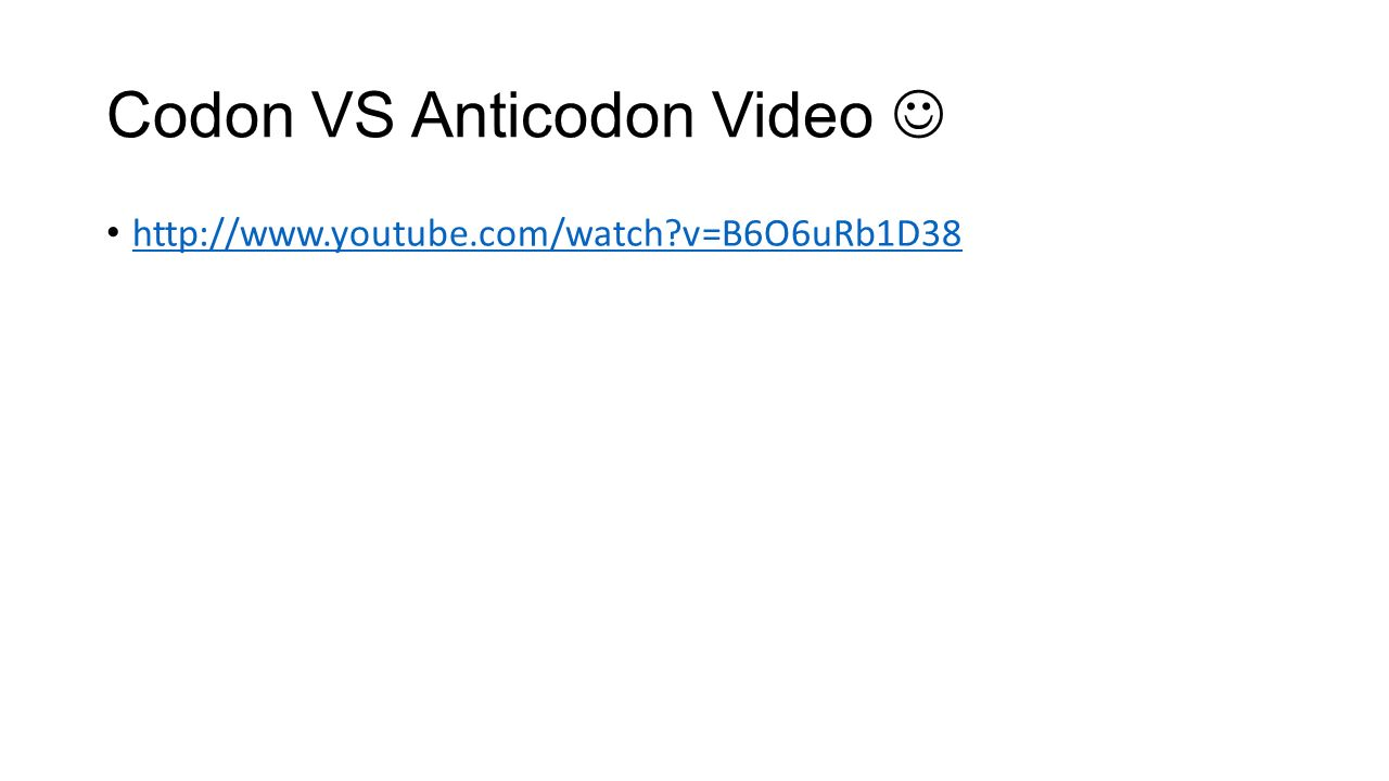 Codon VS Anticodon Video   v=B6O6uRb1D38