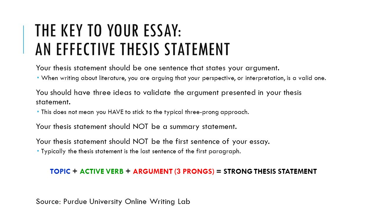 writing in response to literature tips for writing a successful  the key to your essay an effective thesis statement your thesis statement should be one