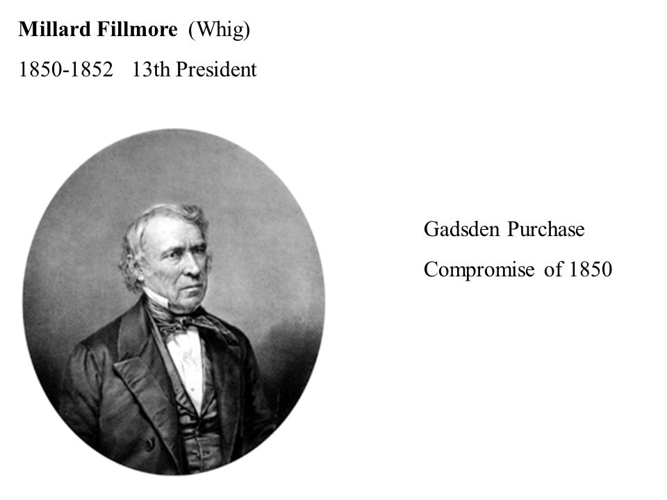 Millard Fillmore (Whig) th President Gadsden Purchase Compromise of 1850