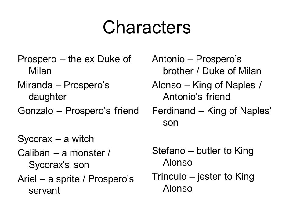 character analysis of prospero in the tempest by william shakespeare Home → no fear shakespeare → the tempest → characters no fear shakespeare the tempest read the sparknote prospero the play's protagonist and miranda's.