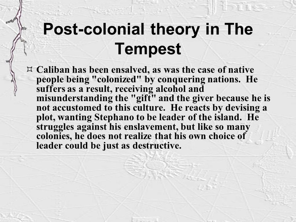 colonialism in the tempest essay George washington universitydiscourse and the individual: the case of colonialism in the tempest author(s): meredith anne skura revie.