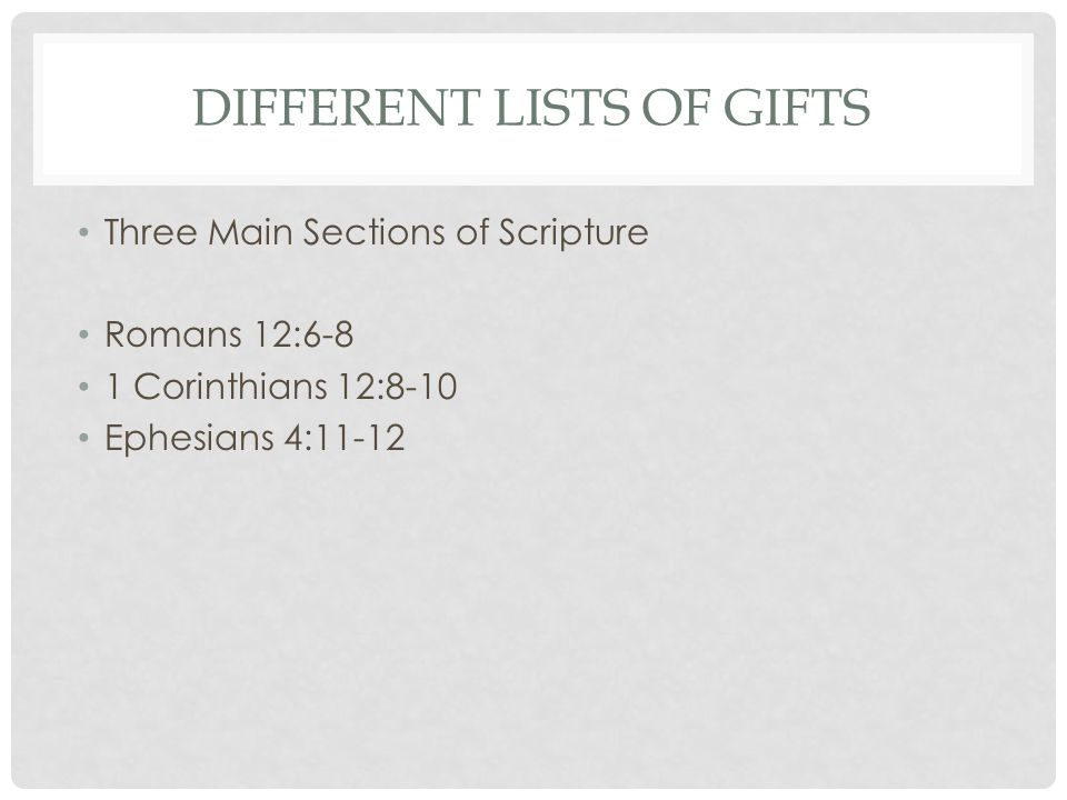 What god has given you and how to use it spiritual gifts ppt 6 different lists of gifts three main sections of scripture romans 126 8 1 corinthians 128 10 ephesians 411 12 negle Images