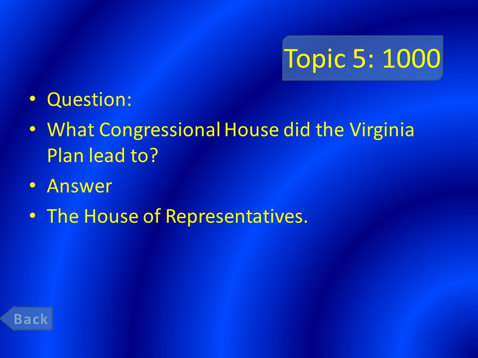 Topic 5: 1000 Question: What Congressional House did the Virginia Plan lead to.