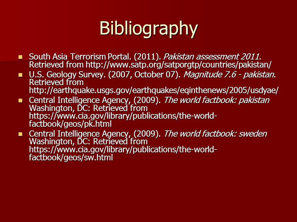 Bibliography South Asia Terrorism Portal. (2011).