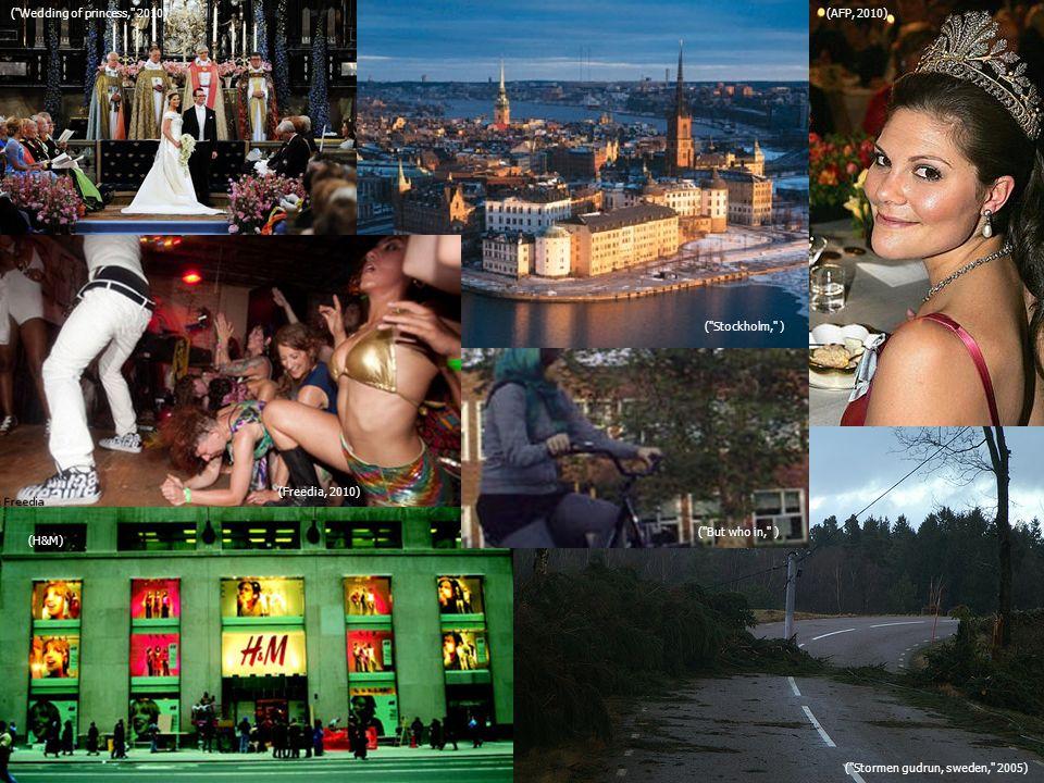 (AFP, 2010) ( Stockholm, ) ( Wedding of princess, 2010) (Freedia, 2010) ( But who in, ) (H&M) ( Stormen gudrun, sweden, 2005)