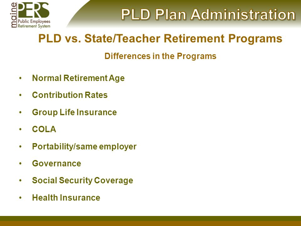 Welcome  Brief Overview Of Mainepers Defined Benefit Plan Pld