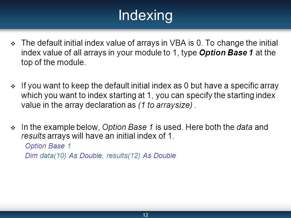 array vba definition