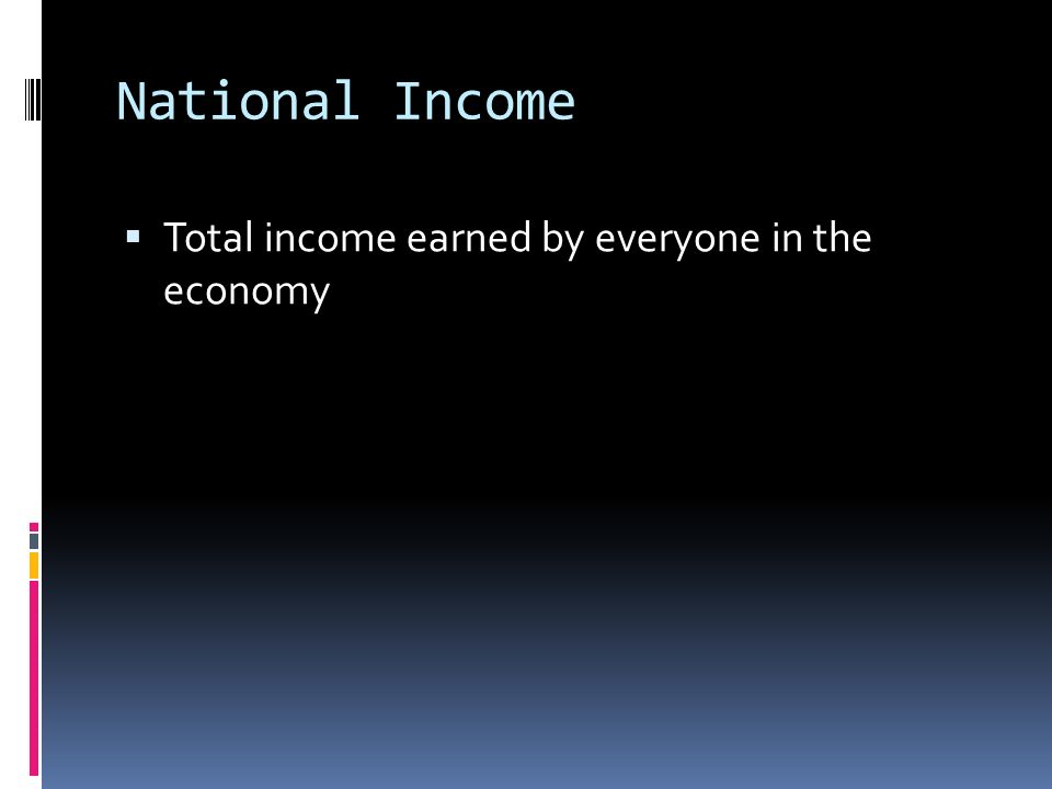 National Income  Total income earned by everyone in the economy
