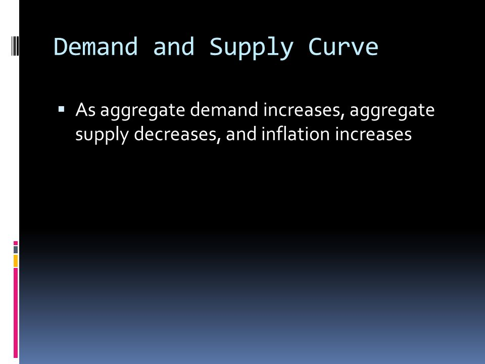 Demand and Supply Curve  As aggregate demand increases, aggregate supply decreases, and inflation increases