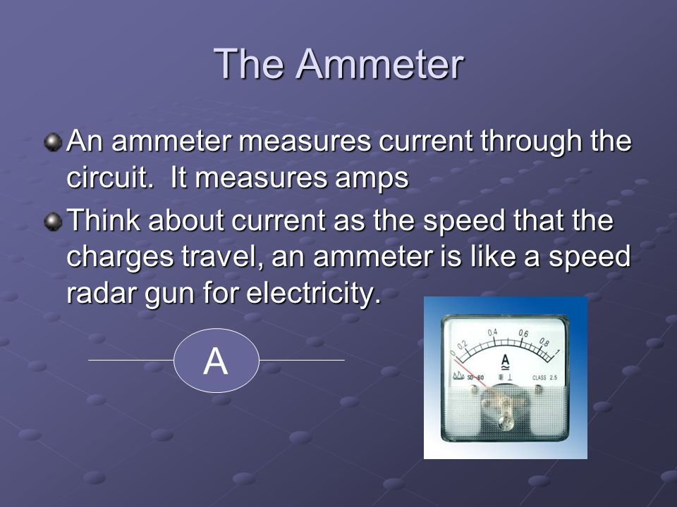 The Ammeter An ammeter measures current through the circuit.