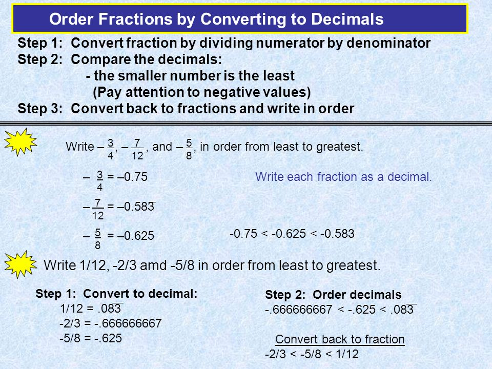 Step 1: Convert fraction by dividing numerator by denominator Step 2: Compare the decimals: - the smaller number is the least (Pay attention to negative values) Step 3: Convert back to fractions and write in order Write 1/12, -2/3 amd -5/8 in order from least to greatest.