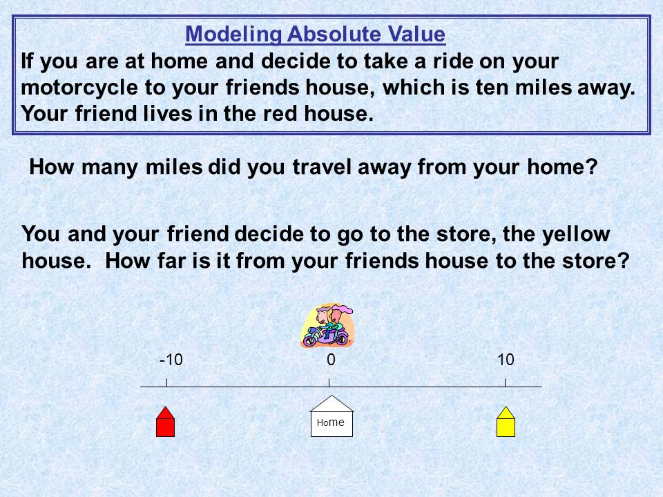 -10 0 10 Ho me Modeling Absolute Value If you are at home and decide to take a ride on your motorcycle to your friends house, which is ten miles away.