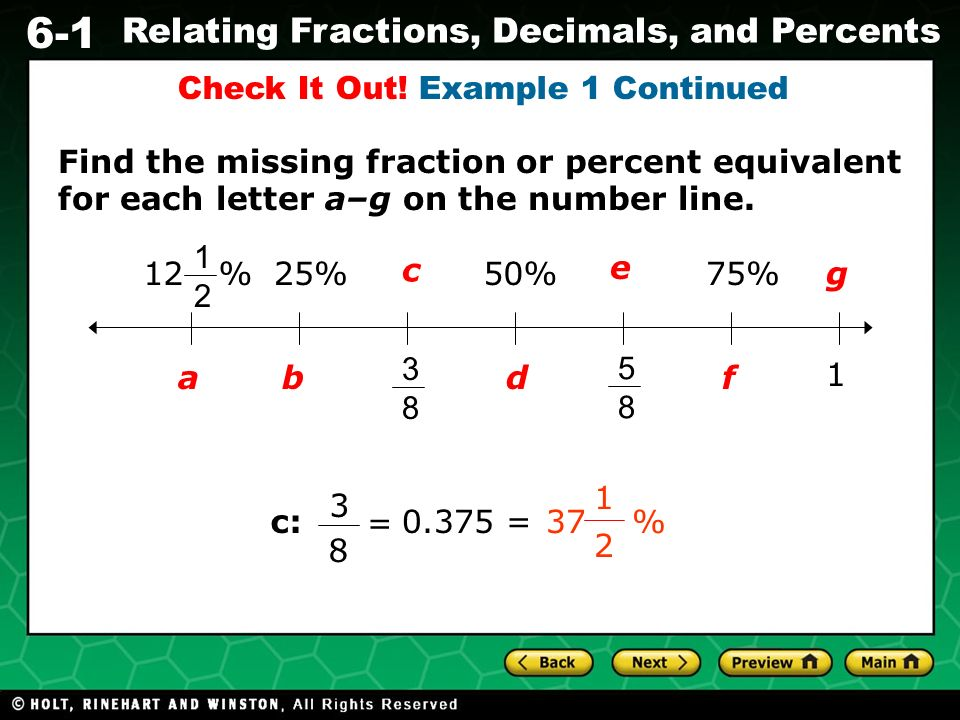6-1 Relating Fractions, Decimals, and Percents Warm Up Evaluate ...