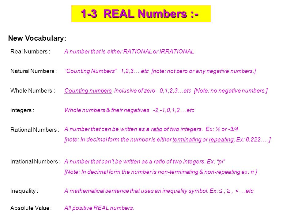 1 3 Real Numbers 1 3 Real Numbers New Vocabulary Real Numbers
