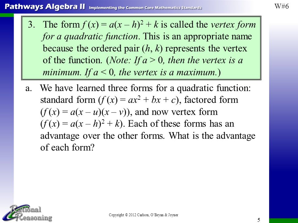 Describe The Benefits Of Writing A Quadratic Equation In Vertex Form