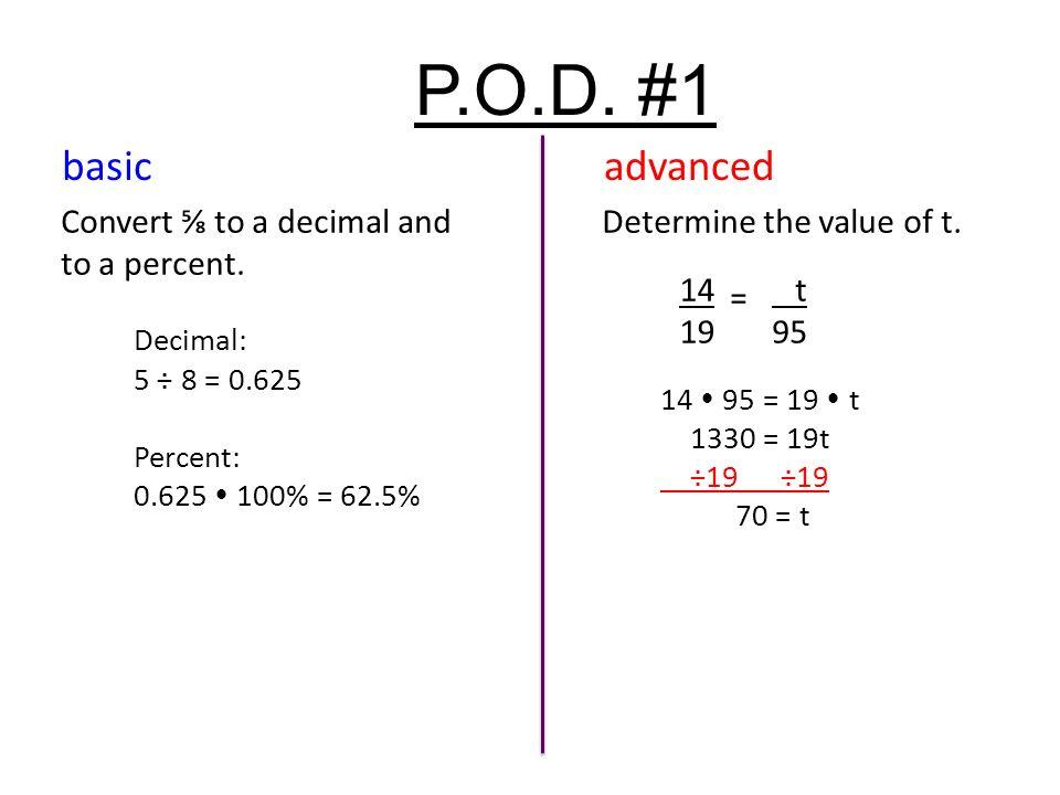P O D 1 Convert ⅝ To A Decimal And Percent