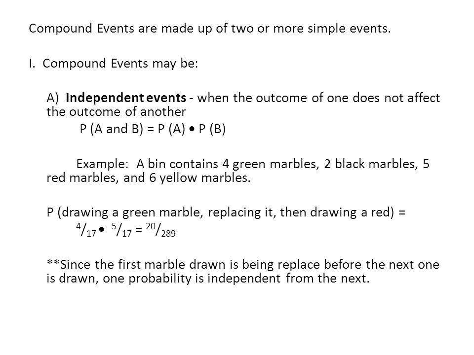 Compound Probability PreAP Geometry Compound Events are made up – Compound Probability Worksheet
