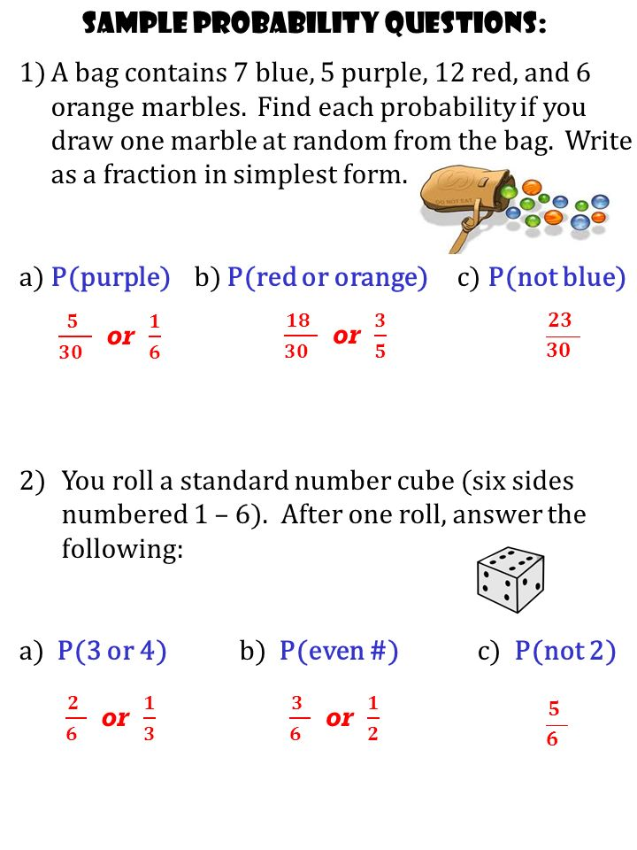 Today's Lesson: What: probability of simple events Why: To ...