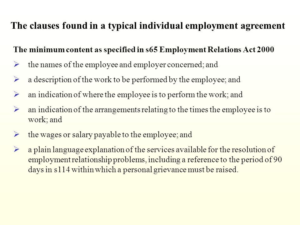 Individual Employment Agreement Individual Work Employment