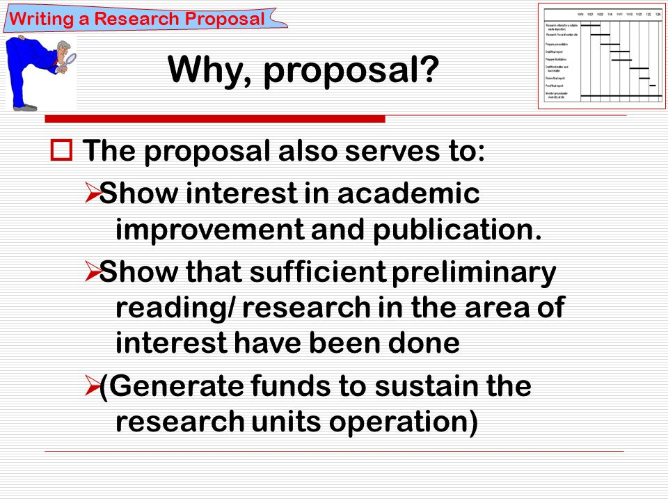 writing a research proposa Introduction writing a proposal for a sponsored activity such as a research project or a curriculum development program is a problem of persuasion.