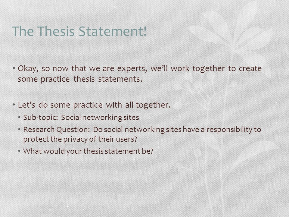 thesis statement about social networking sites