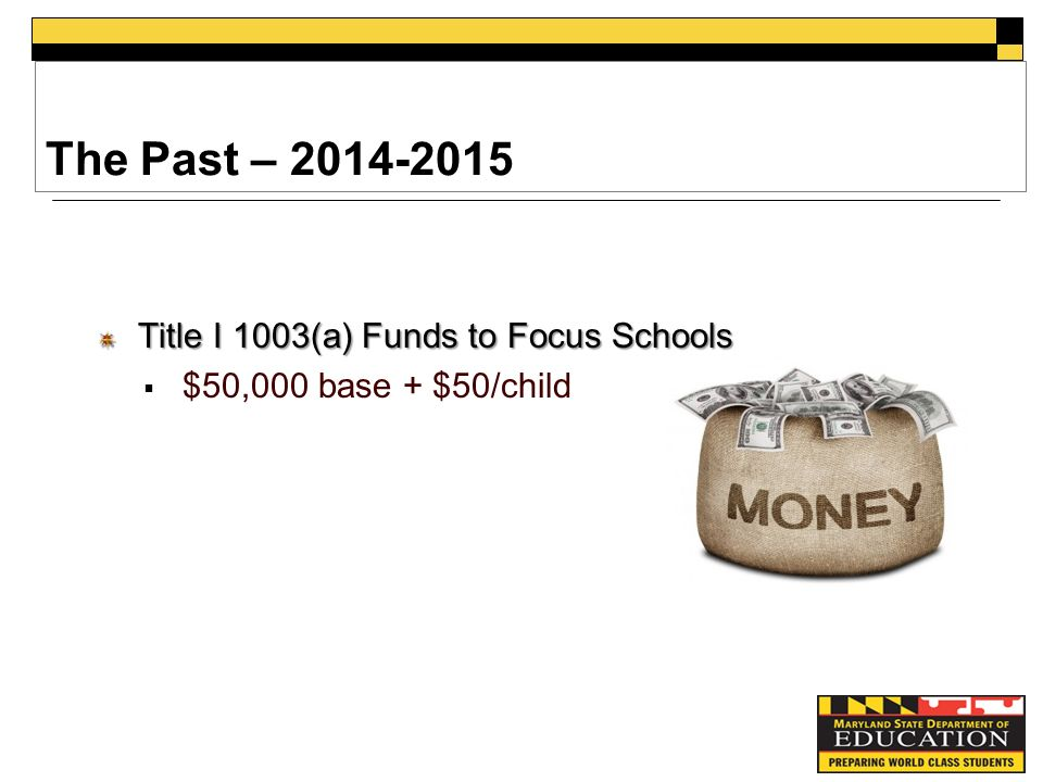 The Past – Title I 1003(a) Funds to Focus Schools  $50,000 base + $50/child