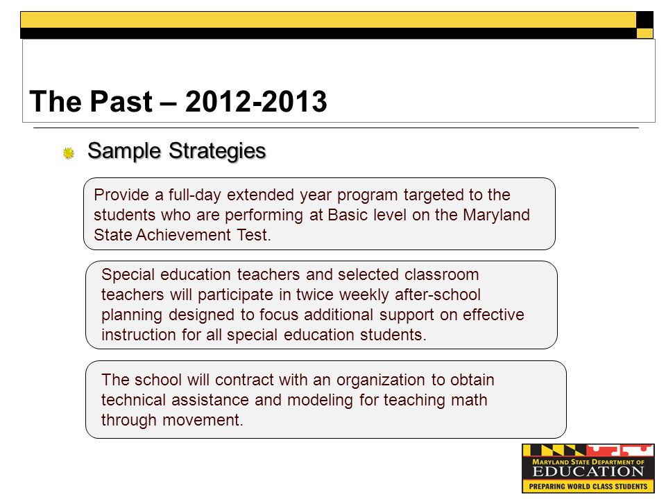 The Past – Sample Strategies Provide a full-day extended year program targeted to the students who are performing at Basic level on the Maryland State Achievement Test.
