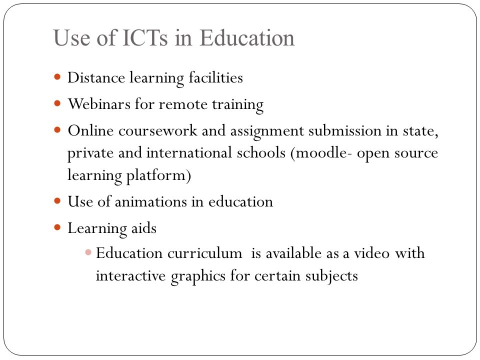 using ict for distance learning Literacy, distance learning and ict contents abbreviations part 1: experience in the use of ict and distance learning for literacy initial acquisition of literacy skills.
