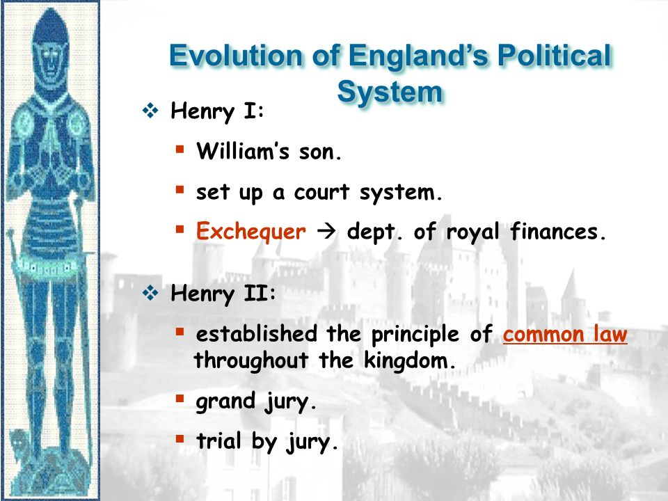 Evolution of England's Political System  Henry I:  William's son.