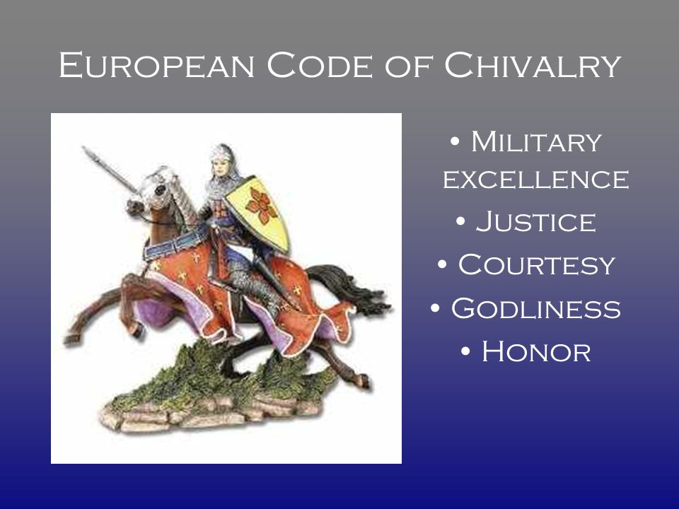 European Code of Chivalry Military excellence Justice Courtesy Godliness Honor