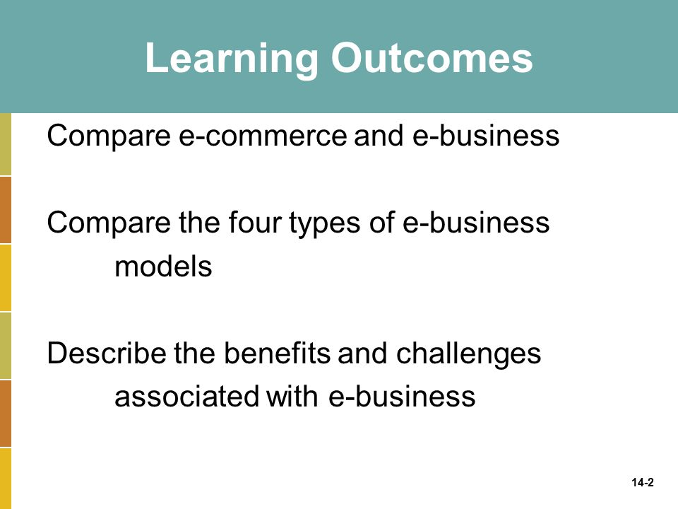 14-2 Learning Outcomes Compare e-commerce and e-business Compare the four types of e-business models Describe the benefits and challenges associated with e-business