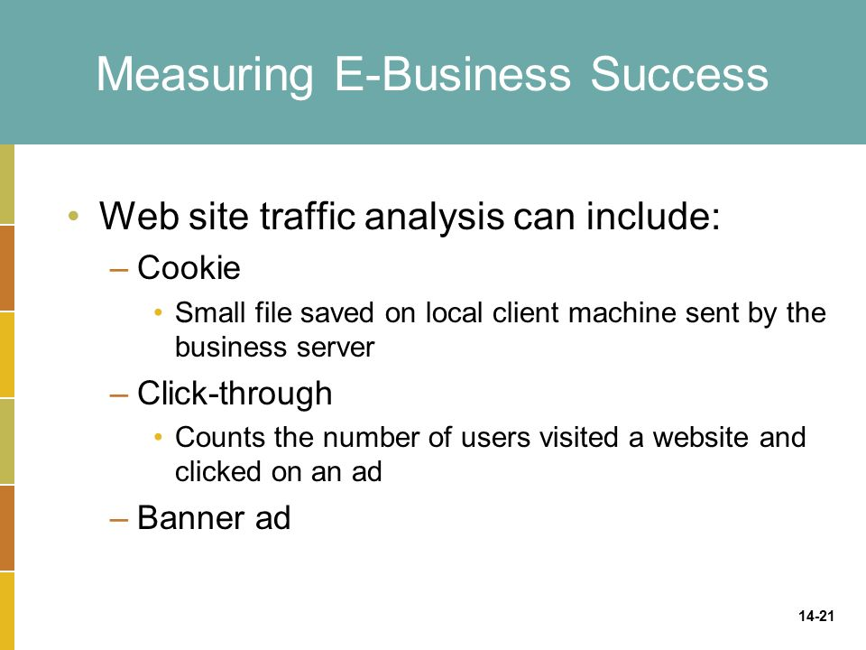 14-21 Measuring E-Business Success Web site traffic analysis can include: –Cookie Small file saved on local client machine sent by the business server –Click-through Counts the number of users visited a website and clicked on an ad –Banner ad