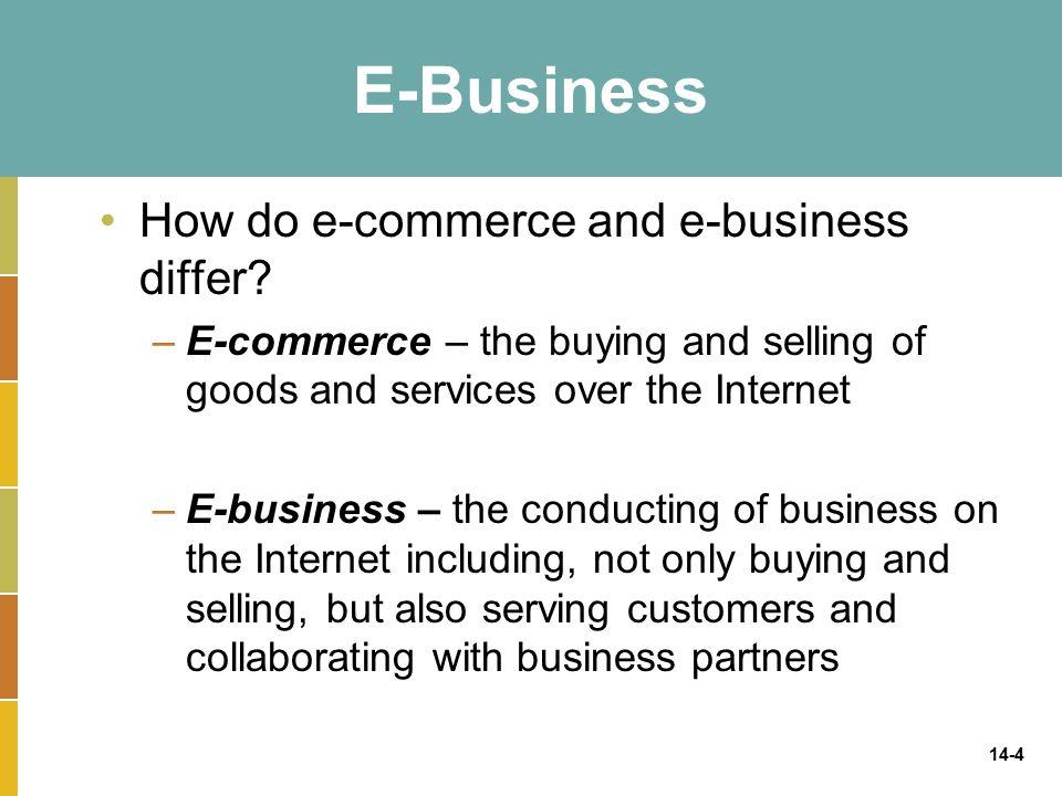 14-4 E-Business How do e-commerce and e-business differ.