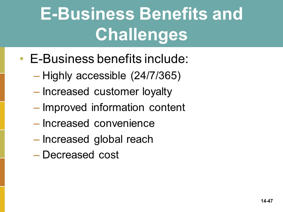 14-47 E-Business Benefits and Challenges E-Business benefits include: –Highly accessible (24/7/365) –Increased customer loyalty –Improved information content –Increased convenience –Increased global reach –Decreased cost