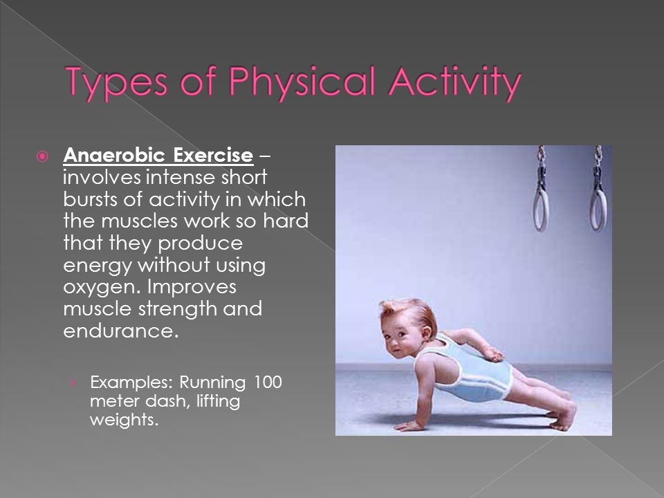 Anaerobic Exercise – involves intense short bursts of activity in which the muscles work so hard that they produce energy without using oxygen.